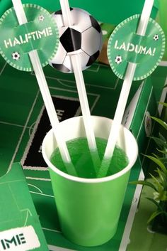 soccer straw-toppers (free download) I'm think more like for a football party for the kids to write their names on!