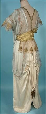 "c. 1912 ""Titanic"" Edwardian Gown of Ivory Silk, Gold Lame and Floral Chiffon!"