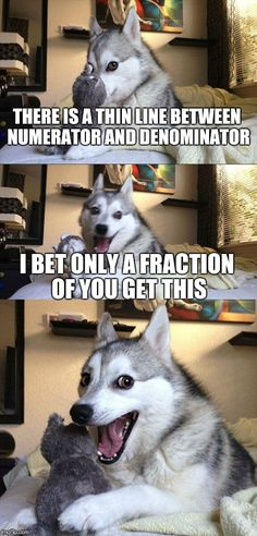 Bad Math Dog   THERE IS A THIN LINE BETWEEN NUMERATOR AND DENOMINATOR I BET ONLY A FRACTION OF YOU GET THIS   image tagged in memes,bad pun dog   made w/ Imgflip meme maker