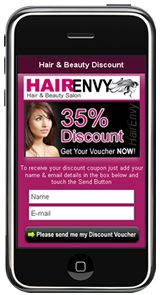 Mobile Landing Page Example by Most Pixels Mobile Marketing - Hair Envy Pixel Mobile, Mobile Landing Page, Landing Page Examples, Mobile Web Design, Discount Beauty, Mobile Marketing, Interactive Design, Lead Generation, Website