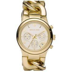MICHAEL Michael Kors Michael Kors Chain Bracelet Chronograph Watch,... ($225) ❤ liked on Polyvore
