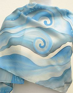 Gray blue silk scarf Hand Painted in pastel shades of pale grey , sky blue, white . 100% Pure silk scarf . I painted this elegant piece with soft colors on pongé 9 silk ( light shiny silk ) with non toxic steam set French dyes . These are my favorite dyes as they are not heavy on silk : you do