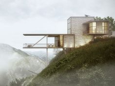 90 Breathtaking Cliff House Architecture Design and Concept Cantilever Architecture, Architecture Design, Cliff House, House On A Hill, Georgian Terrace, 3d Visualization, Beautiful Homes, House Design, House Styles
