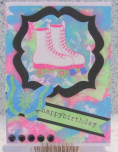 I just listed 1980s Birthday Card A2 handmade greeting card roller skates neon colors on The CraftStar @TheCraftStar #uniquegifts