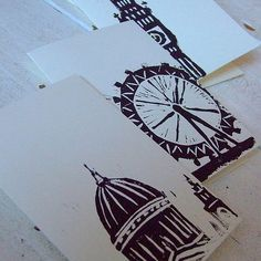landmark linocut cards (london)