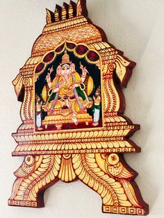 Items similar to Beautiful Ganesh Home decor Tanjore painting wood wall panels - vinayagar indian gift painting ethnic home decor on Etsy Wooden Wall Panels, Wood Panel Walls, Wooden Walls, Wall Wood, Emboss Painting, Home Decor Hooks, Stairway Walls, Ethnic Home Decor, Home Design Diy