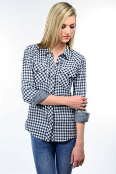 Rails Kendra Button Down Shirt in Navy Check