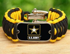 Wide Survival Bracelet - Officially Licensed - U.S. Army™ - Black/Yellow