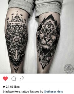 Black and gray mandala and lion tattoo by @otheser_dsts