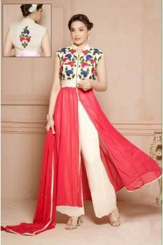 White And Pink Floral Embroidered Georgette  Front Slit Kurti Set