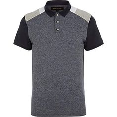 Blue colour block polo shirt - polo shirts - men