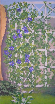 Alderman's painting of a trellis with columbine next to the golden relief statue Amor Caritas by Saint-Gaudens, acrylics on canvas (tapestry or framed or mural) by artist Holly Alderman