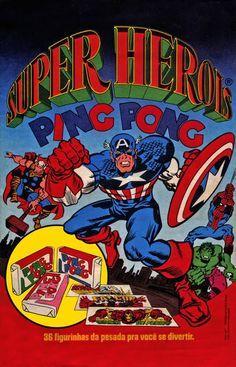 Figurinhas da Marvel no chiclete - Anos 80 - Super Heroi Ping Pong