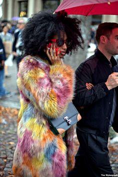 Julia Sarr Jamois + the epic coat. Paris.