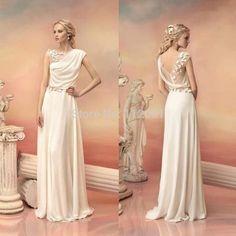 Sarahbridal Vintage Long Chiffon Wedding Dresses With Appliques Sexy Sheer Back Beading vestido de festa longo 2015 Wedding Gown