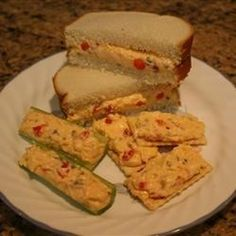 This version of pimento cheese is sweetened with pickle relish. It is great as a sandwich, as a spread on crackers, or stuffed into celery. Pimento Cheese Sandwiches, Homemade Pimento Cheese, Pimento Cheese Recipes, Appetizer Sandwiches, Cheese Appetizers, Tea Sandwiches, Pimiento Cheese, Snack Recipes, Cheese