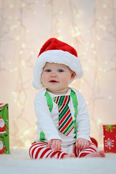 PICK YOUR OWN Baby Boy Tie Bodysuit with Suspenders - Christmas Holiday - Photo Prop, Baby Christmas