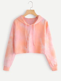 SheIn offers Tie Dye Drop Shoulder Crop Hoodie & more to fit your fashionable needs. Girls Fashion Clothes, Teen Fashion Outfits, Outfits For Teens, Tomboy Outfits, Emo Outfits, Punk Fashion, Lolita Fashion, Fashion Dresses, Cute Comfy Outfits