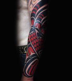 Shiny Black And Red Haida Tattoo Mens Sleeves