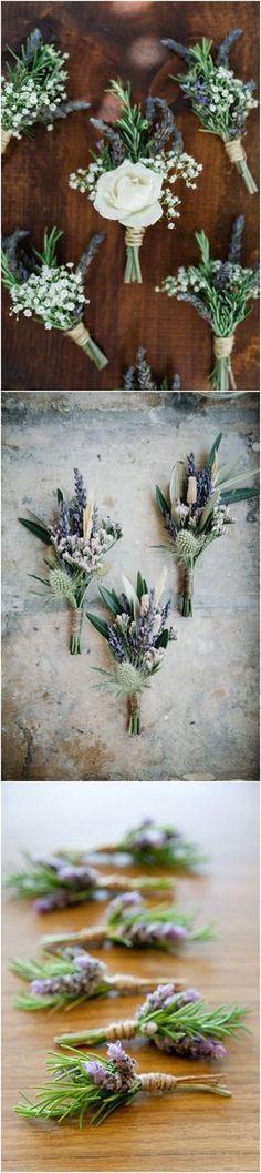 lavender wedding boutonniere ideas