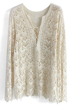 Crochet All the Way Tunic in Off-white - New Arrivals - Retro, Indie and Unique Fashion