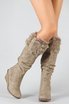 furry wedge boots i want em in every color Girls Winter Boots, Winter Snow Boots, Winter Wear, Furry Boots, Cute Boots, Fancy Shoes, Me Too Shoes, Knee High Wedge Boots, High Boots