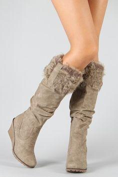 Breckelle Kansas-83 Fur Slouchy Knee High Wedge Boots