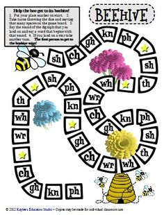 FREE awesome blends & digraphs board games!  Honey Bees