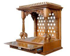 Aarsun Woods Wooden Temple / Mandir/ Mantapam In Teak Wood Wooden Temple For Home, Temple Design For Home, Home Temple, 6 Seater Dining Table, Mandir Design, Pooja Room Door Design, Puja Room, Furniture Knobs, Bathroom Furniture