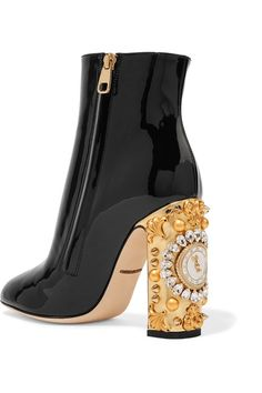 Gold leather heel measures approximately 105mm/ 4 inches Black patent-leather Zip fastening along side Come with dust bag Made in Italy