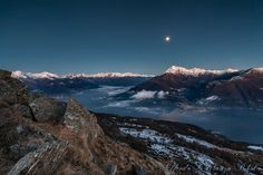 Como Lake, Italy Alone with the Moon by Alfredo Costanzo