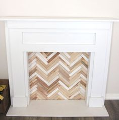 DIY Faux Fireplace & Mantel – Petite Party Studio Source by Fireplace Mantel Christmas Decorations, Faux Fireplace Mantels, Faux Mantle, Diy Mantel, White Fireplace, Fireplace Cover, Bedroom Fireplace, Living At Home, My Living Room