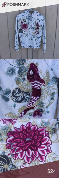 Lucky Brand Koi Fish Hoodie An exercise sweatshirt by Lucky Brand with a beautiful pattern and detail. Fabric: 100% cotton Made in China Condition: Brand new! Size: Woman's small Lucky Brand Tops Sweatshirts & Hoodies