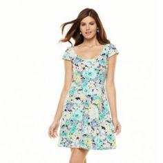 LC Lauren Conrad Floral Fit & Flare Dress - Women's 34.99 Kohl's