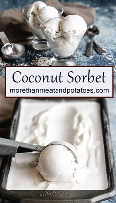 A tender coconut sorbet made with coconut water, cream of coconut, and coconut milk. It's a smooth and creamy dairy-free dessert! Cheesecake Desserts, Frozen Desserts, Frozen Treats, Vegan Desserts, Dessert Recipes, Coconut Sorbet, Coconut Water, Coconut Milk, Coconut Cream