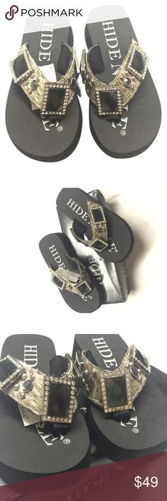 Brindle Hide N Sole Sandals 2 inch platform Sandals with bling embellishments and faux fur in brindle Hide N Sole Shoes Sandals
