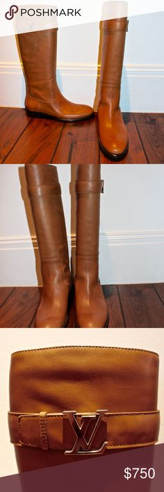 Louis Vuitton Calfskin Legacy Flat High Boots AUTHENTIC. Never worn. Calfskin. Woman's size 8 (EU38). True to size. IF YOU WANT MORE PICTURES MESSAGE ME. ------- These stunning riding boots are crafted of rugged leather in light golden brown. These are tall boots with the LV symbol in silver hardware on top buckle. These exquisite boots are perfect for riding or for the city and are sure to turn heads from Louis Vuitton! Louis Vuitton Shoes Over the Knee Boots