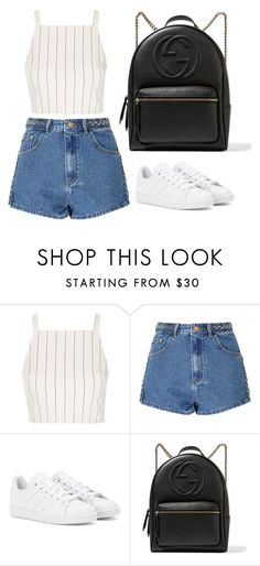 """""""Untitled #1189"""" by r-redstall ❤ liked on Polyvore featuring Topshop, Glamorous, adidas and Gucci"""