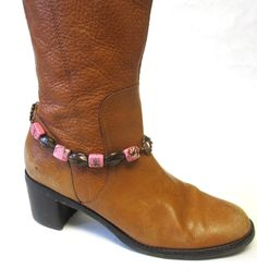 Western Jewelry Boot Bracelet Pink Brown Copper Cow Sugar Skull