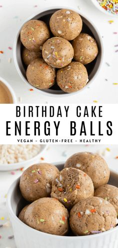 No bake birthday cake energy balls are vegan gluten-free and easy to make! Enjoy a soft and chewy bliss ball made with oat flour cashew butter white chocolate chips and sprinkles. It's a healthy dessert recipe that tastes like cake batter! Healthy Vegan Snacks, Savory Snacks, Healthy Sweets, Easy Snacks, Healthy Baking, Healthy Protein, Healthy Dessert Recipes, Vegan Desserts, Snack Recipes