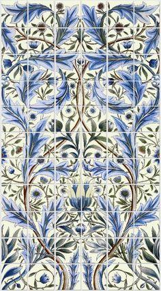William Morris, William DeMorgan - Membland backsplash on cream background, 66 tiles. WilliamMorrisTile.com