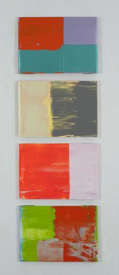 Pedro Calapez, Barreira M, 2012, Acrylic on aluminum, 90 ½ x 27 ½ x 1 inches (230 x 70 x 3 cm), Set of 4 hand folded aluminum panels, each with 50 x 70 cm
