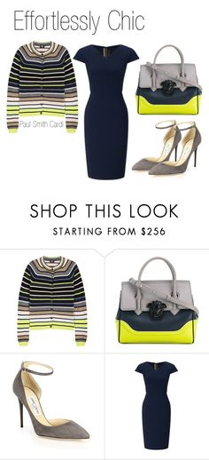 """""""Effortlessly Chic"""" by boutiquebrowser ❤ liked on Polyvore featuring Paul Smith, Versace, Jimmy Choo and Roland Mouret"""