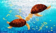 Hawaiian Art Turtle Print Beachside Ocean Art Wall Decor by nidhi, $20.00