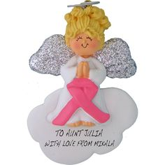 Angel on Cloud, Pink Ribbon. This ornament and many more can be found at https://www.ornaments.com