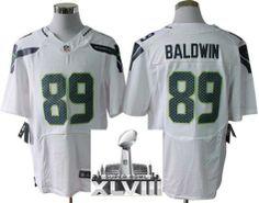 Nike Seattle Seahawks 89 Doug Baldwin White Elite 2014 Super Bowl XLVIII NFL Jerseys