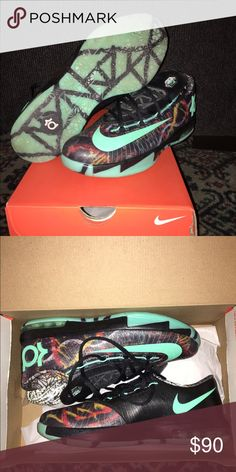 Kd 6 all-star/gumbo league GS You are looking at a lightly worn pair of kd 6's. Very flashy and good looking shoe. No flaws, no creases, a little darkening of the soles. Comes with secondary pair of laces, original packaging and original box. They are too small for me. Happy poshing!😋 Nike Shoes Sneakers