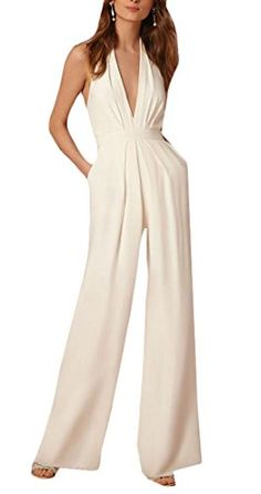 3ed5b54006c Amazon.com  Papijam Womens V Neck Fashion Halter Backless Wide Leg Jumpsuits   Clothing