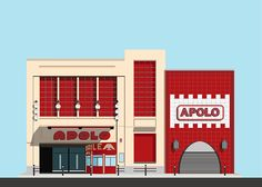 This print by graphic designer Pablo Benito is of Barcelona's Sala Apolo club Underground Club, Building Drawing, Best Club, Music Covers, Illustrations, Work Inspiration, Night Club, Home Art, Facade