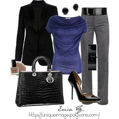 Straight leg pants and blouse--I would change jacket to cardi and heels to flats.